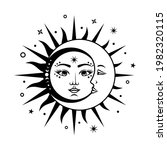 sun inside the moon. celestial...   Shutterstock .eps vector #1982320115