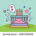 cute cake cartoon with candles   Shutterstock .eps vector #1982358458