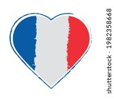 french flag in heart isolated   Shutterstock .eps vector #1982358668