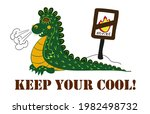 angry and cute dragon  keep... | Shutterstock .eps vector #1982498732