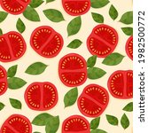 tomato and basil pattern....   Shutterstock .eps vector #1982500772