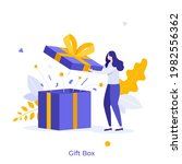 woman opening gift box and... | Shutterstock .eps vector #1982556362