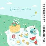 lovely summer picnic scene in... | Shutterstock .eps vector #1982556968