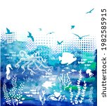 abstraction of sea and seagulls.... | Shutterstock .eps vector #1982585915