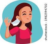 happy girl taking her medical... | Shutterstock .eps vector #1982594702