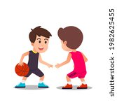 Two Children Playing Basketball ...