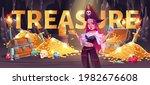 Pirate Girl In Treasure Cave...