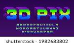 3d pix alphabet font. pixel...   Shutterstock .eps vector #1982683802