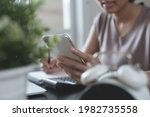 student studying online class ...   Shutterstock . vector #1982735558