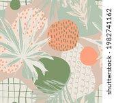 grunge textured tropical leaves ... | Shutterstock .eps vector #1982741162