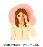 woman having horrible headache. ... | Shutterstock .eps vector #1982742332