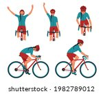 woman cyclist in action set.... | Shutterstock .eps vector #1982789012
