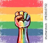 rised lgbt fist colored in lgbt ...   Shutterstock .eps vector #1982810732