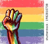 rised lgbt fist colored in lgbt ...   Shutterstock .eps vector #1982810738