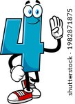 funny blue number four 4...   Shutterstock .eps vector #1982871875