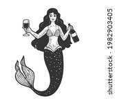 mermaid with glass and bottle...   Shutterstock .eps vector #1982903405
