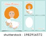a sweet girl with a fluffy... | Shutterstock .eps vector #1982916572