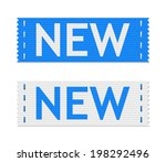 set of vector blue new signs on ... | Shutterstock .eps vector #198292496