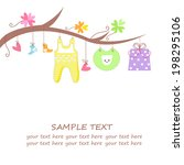 baby arrival card with gift ... | Shutterstock . vector #198295106