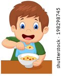 boy is having cereal for... | Shutterstock . vector #198298745
