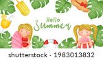 tropical summer banner with... | Shutterstock .eps vector #1983013832