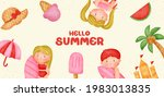 summer banner with summer... | Shutterstock .eps vector #1983013835