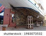 Vessel In The Shipyard Dry Dock....