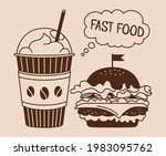 fast food burger and soda... | Shutterstock .eps vector #1983095762