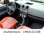 Small photo of Vinnytsia, Ukraine; May 29, 2021. Mitsubishi Colt CZC Cabrio driver seat. Mitsubishi Colt CZC interior. Mitsubishi Colt CZC dashboard. Editorial photo.