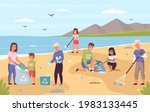 collect beach garbage. parents... | Shutterstock .eps vector #1983133445