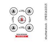 social distancing icon design...   Shutterstock .eps vector #1983161015