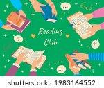 cartoon color reading club...   Shutterstock .eps vector #1983164552