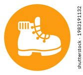 hiking boot vector white glyph...