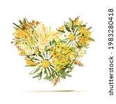 floral heart  summer vibes... | Shutterstock .eps vector #1983280418
