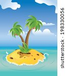 small island with two palm...   Shutterstock .eps vector #198330056