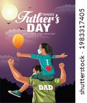 father giving daughter ride on... | Shutterstock .eps vector #1983317405