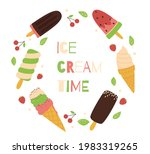 Ice Cream  Fruits And Mint...