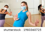 Group Of Young Active Women In...