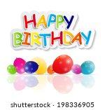 happy birthday card ... | Shutterstock . vector #198336905