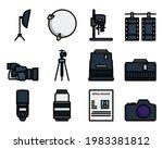 photography icon set. editable...