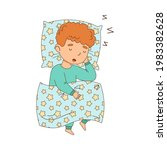 little boy sleeping sweetly on... | Shutterstock .eps vector #1983382628