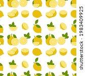 lemon fruits seamless pattern....   Shutterstock .eps vector #1983409925