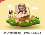 3d fresh eggs advertisement for ... | Shutterstock .eps vector #1983433115