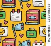 kawaii cartoon doodle seamless... | Shutterstock .eps vector #1983456938