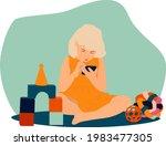 little girl with smartphone... | Shutterstock .eps vector #1983477305