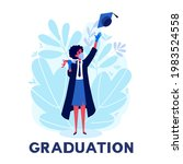 a woman student celebrating... | Shutterstock .eps vector #1983524558