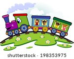 toy train with children who... | Shutterstock .eps vector #198353975