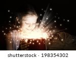 little cute girl opening... | Shutterstock . vector #198354302