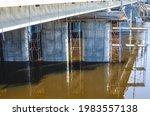 Flooded bridge spans....