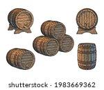 vintage set of old wooden... | Shutterstock .eps vector #1983669362
